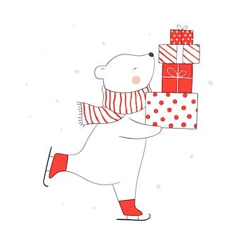 Disegna l'orso sul pattinaggio e tenendo regali nella neve per natale.