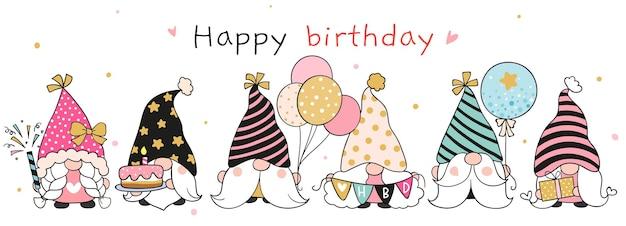 Disegna lo gnomo del compleanno scarabocchio in stile cartone animato