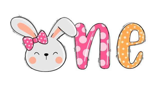 Disegna il coniglietto per la maglietta stampabile della ragazza del primo compleanno