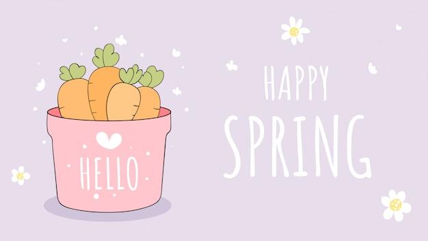 Disegna la carota in un vaso da giardino per pasqua e primavera