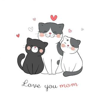 Disegna mamma e bambino gatto con cuoricino su bianco per la festa della mamma.