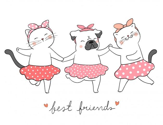 Tenersi per mano del cane del carlino e del gatto di tiraggio concetto dei migliori amici