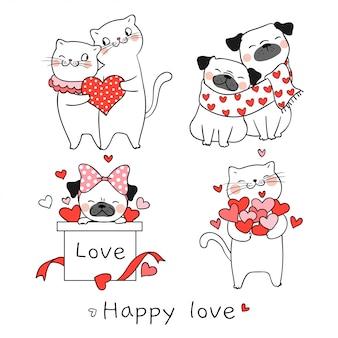 Disegna il cane del carlino e del gatto con piccolo cuore per il giorno di san valentino