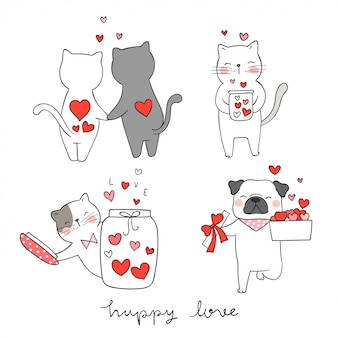 Disegna il cane del gatto e del carlino con il piccolo cuore per il san valentino.