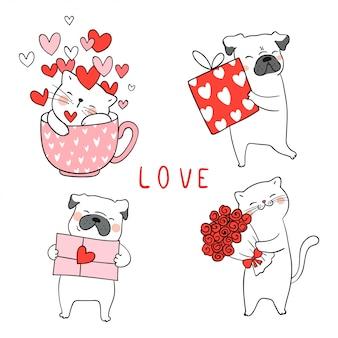 Disegna il cane del gatto e del carlino con piccolo cuore per il biglietto di s. valentino. Vettore Premium