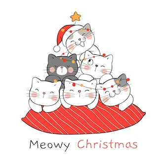 Disegna il gatto sul cuscino rosso per natale e capodanno.