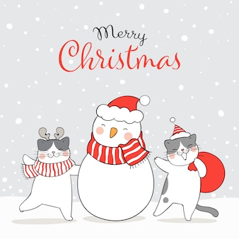 Disegna il gatto nella neve con il pupazzo di neve inverno capodanno e natale.