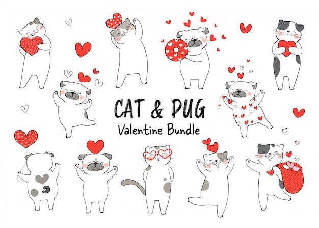 Disegna il personaggio del gatto e il cane pug si innamorano del giorno di san valentino.