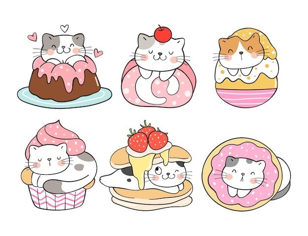 Disegna la collezione di dessert per gatti con colori dolci sweet