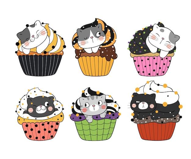 Disegna la collezione di un simpatico gatto in cupcake per halloween
