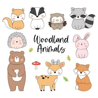 Disegna collezione simpatico animale del bosco doodle in stile cartone animato