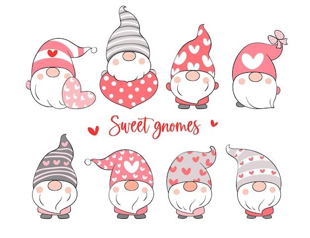 Disegna la collezione di dolci gnomi per san valentino.
