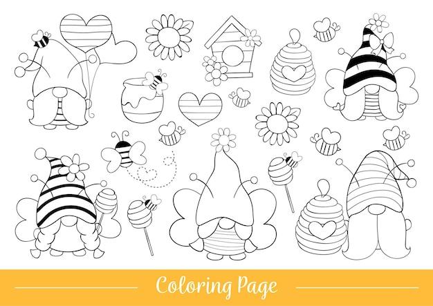 Disegna la pagina da colorare simpatico gnomo calabrone per la primavera