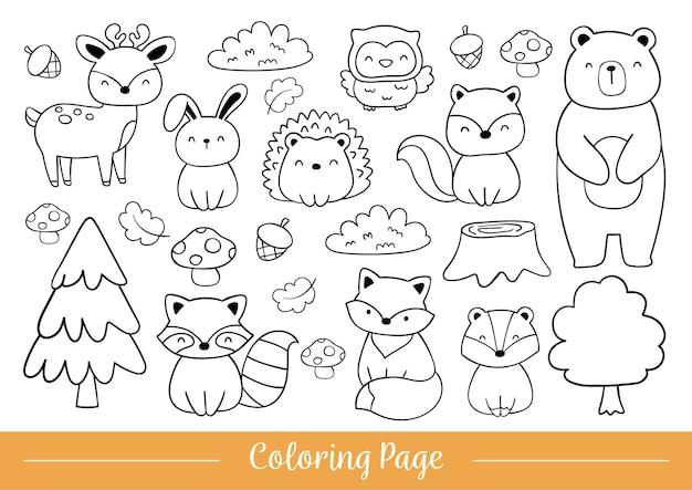 Disegna la pagina da colorare animali del bosco doodle in stile cartone animato