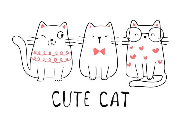 Disegna il simpatico gatto doodle in stile cartone animato.