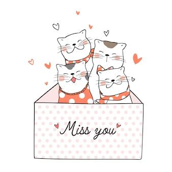 Disegna simpatico gatto con cuoricino e manchi la parola