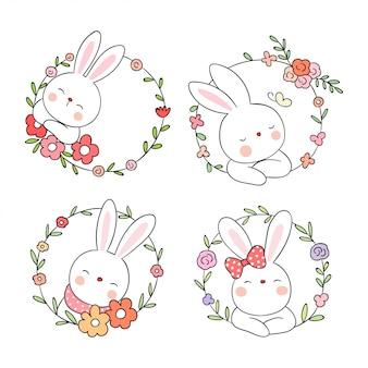 Disegna un coniglio carino con un fiore di ghirlanda di bellezza