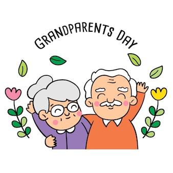Disegna gli stili di doodle del giorno dei nonni.