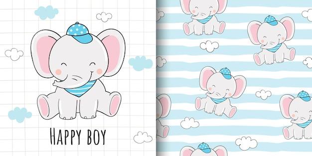 Disegna un biglietto di auguri e un modello di elefante per bambini in tessuto