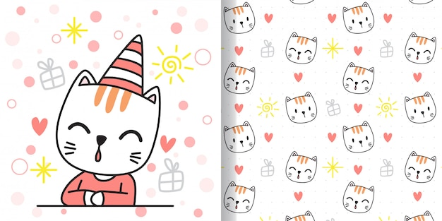 Disegna un gatto felice. stampa seamless e biglietto di auguri per bambini in tessuto.
