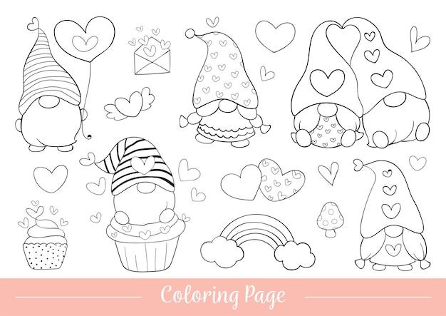 Disegna la pagina da colorare di gnomo per san valentino.