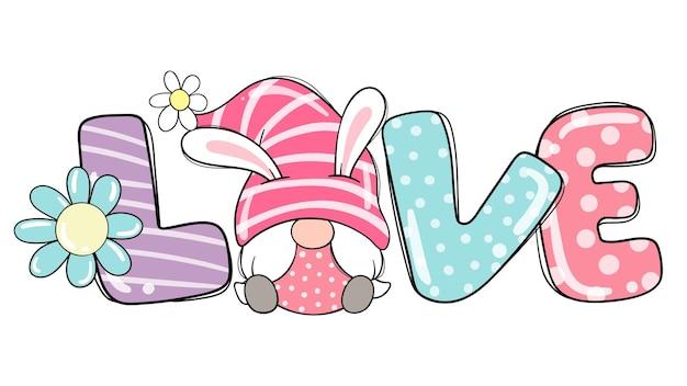 Disegna il coniglietto gnomo della ragazza dell'amore nella stagione primaverile