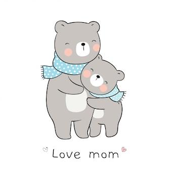 Disegna l'orso mamma e l'abbraccio del bambino con amore. per la festa della mamma.