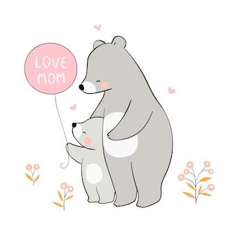 Disegna mamma orso e bambino per la festa della mamma.