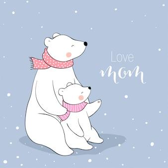 Disegna mamma polare e bambino nella neve per la festa della mamma.