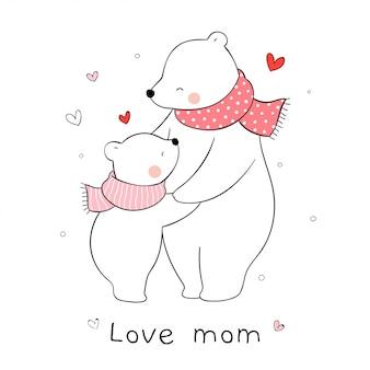 Disegna la mamma orso polare e abbraccio bambino con amore. per la festa della mamma.