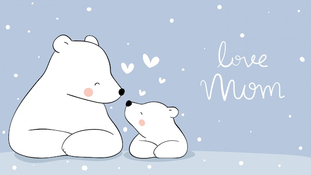 Disegna mamma orso polare e bambino nella neve. per la festa della mamma. Vettore Premium