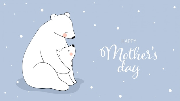 Disegna l'orso polare e il bambino sulla neve per la festa della mamma.