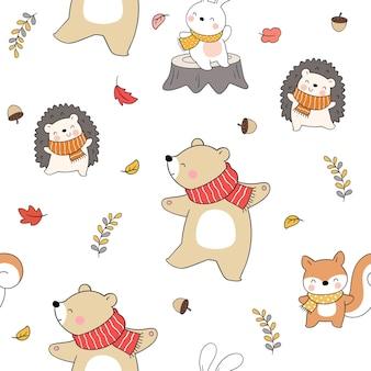 Disegna un animale senza cuciture in autunno