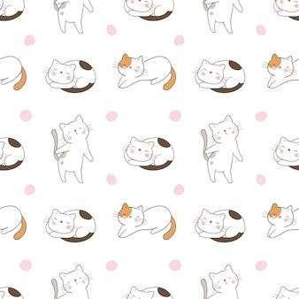 Disegna un gatto senza cuciture con pois dolci