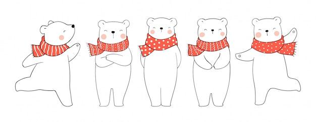 Disegna set orso polare con sciarpa rossa per natale e capodanno.