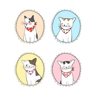 Disegni la struttura d'annata stabilita del gatto sveglio
