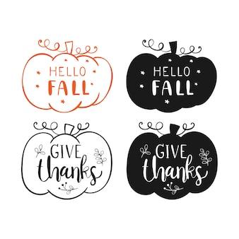 Disegna la zucca silhouette per l'autunno, la stagione dei ringraziamenti