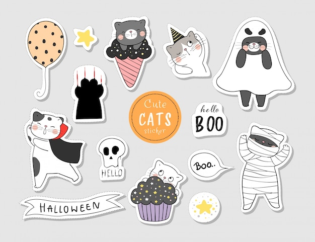 Disegna adesivi gatto per il giorno di halloween.