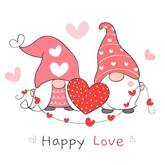 Disegna una dolce coppia di gnomi d'amore con un piccolo cuore per san valentino.