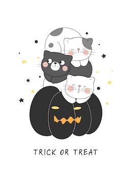 Disegna il gatto di vettore che dorme sulla zucca nera. per halloween.