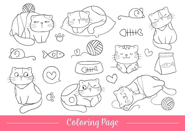 Disegna illustrazione vettoriale da colorare gatto carino animali domestici felici doodle in stile cartone animato