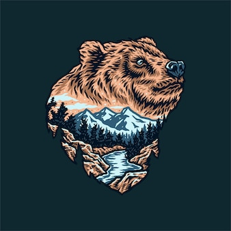 Disegno del paesaggio della foresta dell'orso, stile linea disegnata a mano con colore digitale
