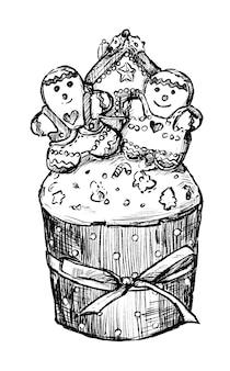 Disegno del tiraggio della mano della torta di natale
