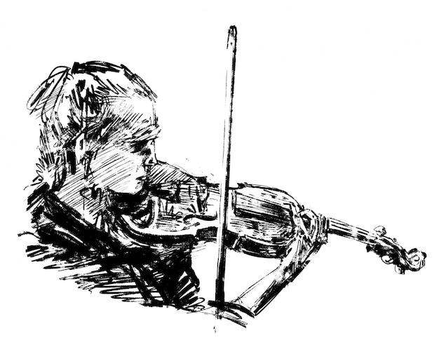 Il disegno del musicista classico suona il tiraggio della mano del violino