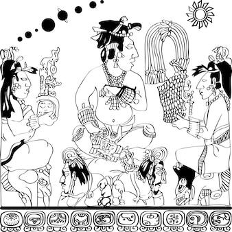 Disegno dal pannello degli dei a palenque, schizzo in bianco e nero del sovrano supremo dei sacerdoti e geroglifici maya e