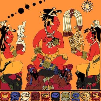 Disegno dal pannello degli dei a palenque, schizzo a colori del sovrano supremo dei sacerdoti e geroglifici maya
