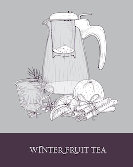 Disegno di teiera in vetro con colino, tazza di tè caldo, arancia, cannella e anice stellato