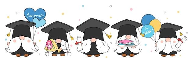 Disegno dello gnomo della laurea per la scuola doodle in stile cartone animato