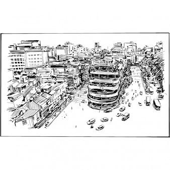 Disegno del paesaggio urbano di hanoi in vietnam