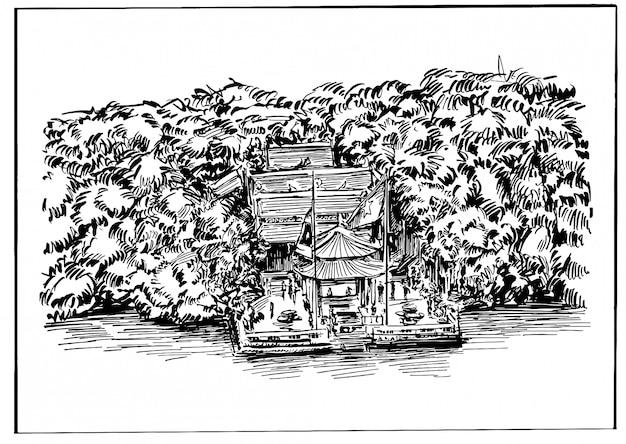 Disegno del tempio di hanoi lungo il lago in vietnam